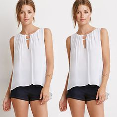 2015 Summer Sexy Fashion Women Casual White Sleeveless Tops Chiffon ladies girl fashion Blouse-in Blouses & Shirts from Women's Clothing & Accessories on Aliexpress.com | Alibaba Group