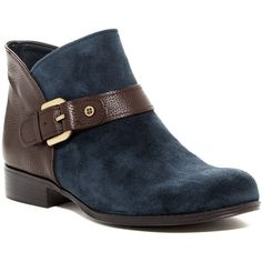 Naturalizer Jarrett Bootie - Multiple Widths Available ($50) ❤ liked on Polyvore featuring shoes, boots, ankle booties, ankle boots, navy, short boots, navy blue leather boots, low heel booties, wide width boots and leather boots