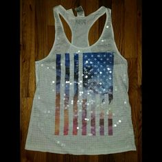 Victoria's Secret PINK Sequined Flag Tank Size S  Brand new, never worn, no damage.   Smoke-free, pet-free household.    No trades/swaps!   No holds!   No low-balling!   No PayPal!   ✔ Reasonable offers welcomed! Please use the offer button so I know you are serious about the item! I will not respond to price negotiations via comments.  ✔ I love bundling! Not only will you get ONE shipping fee, I will also discount your combined total! Please ask me in the comments!   Happy poshing…