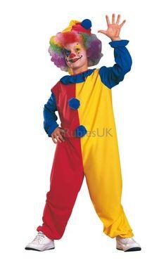 Clown Kids Fancy Dress Up Circus Carnival Boys Girls Child Costume Outfit + Hat  Fancy Dress f01a7cdbb124
