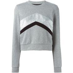 Markus Lupfer Foil Chevron Sweatshirt (1 325 SEK) ❤ liked on Polyvore featuring tops, hoodies, sweatshirts, grey, markus lupfer sweatshirt, grey top, gray top, markus lupfer and chevron tops