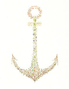 "Flower Anchor  by Charmaine Olivia  STRETCHED CANVAS / SMALL (13"" X 17"")  $85.00"