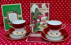 Complete Christmas gift consisting of bone china tea trios and handmade Christmas cards. The tea trios are made by china company Sutherland and consist of two tea cups, saucers and tea plates in a rich red decorated with gilding. The cards are handmade using crafting materials from well known craft company Anna Griffin. The cards are pop up designs with charming Christmas messages and images. The china is in good vintage condition free from chips, cracks, crazing, stains. Gilding is bright…