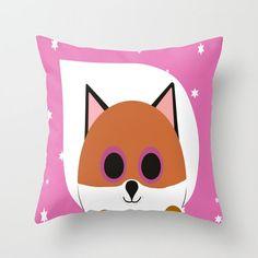 Fox Pink Throw Pillow, Personalized Cover and Insert 16x16 18x18 20x20 Home Living Bed Pillow Children Pillow Fox Pillow Blue Pillow