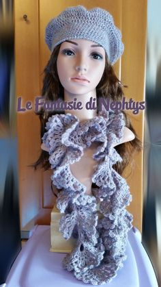 Crochet Ruffle Lace Scarf with matching Beret by LeFantasiediNephtys