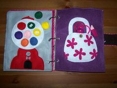 Gumball page: has gumballs that come off so they can match the colors. Purse page: has bracelets, play lipstick, etc. inside.