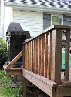 Make a little extension on the deck for the grill, to get it out of the path of foot traffic. How to reuse and re-configure the pieces from your old deck and turn it into something new that you love!