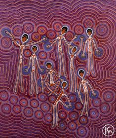 Corroboree by Gloria Doolan from Ltyentye Apurte, Central Australia created a 90 x 80 cm Acrylic on Canvas painting SOLD at the Aboriginal Art Store Art Curriculum, Indigenous Art, Aboriginal Art, Art Store, App Icon, Mud, Centre, Collage, Classroom