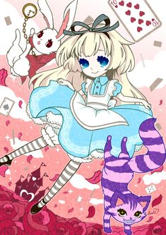 Manga styled Alice in Wonderland. Kawaii in so many ways. Lewis Carroll, Anime Chibi, Anime Manga, Anime Art, Disney Kunst, Disney Art, Kawaii Art, Kawaii Anime, Alice Anime