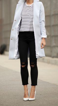 Striped Tee: Rag & Bone| Black Distressed Jeans | Coat: H&M | White Pumps: Manolo Blahnik