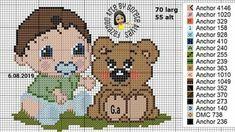 Disney Cross Stitch Patterns, Cross Stitch Charts, Teddy Bear, Hobbit, Animals, Anna, Kids Charts, Boy Drawing, Cross Stitch Animals