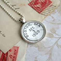 Wear the city you love! Boston Vintage Postmark Necklace, by CrowBiz >> click through for more great cities: New York, Los Angeles, San Francisco, Brooklyn, Washington