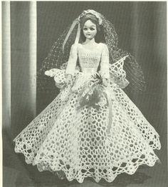 Fashion Doll Bride Doll Wedding Dress Crochet by dianeh5091