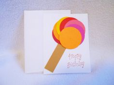 Hand Stamped Lollipop Happy Birthday card, Happy Birthday card with lollipop design, perfect for kids of all ages