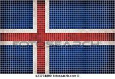 Clipart - mosaik, fahne, von, island