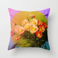 Vintage Floral Postcard Pillow