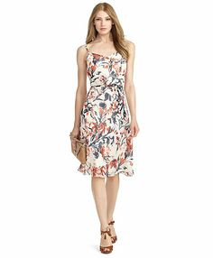 Brooks Brothers - Silk Floral Dress, crafted from pure silk chiffon woven in Italy. Self-belt at waist.
