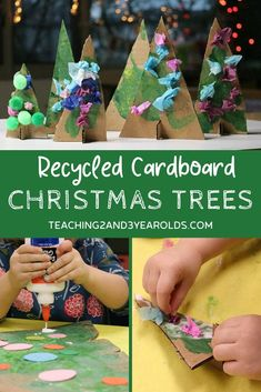 This cardboard Christmas tree is a fun recycled art activity that makes a nice decoration for the home or classroom. Can be done as a group or independently! Cardboard Christmas Tree, Photo Christmas Ornaments, Christmas Tree Art, Kids Christmas, Holiday Tree, Christmas Activities For Toddlers, Holiday Crafts For Kids, Art Activities For Kids, Preschool Christmas