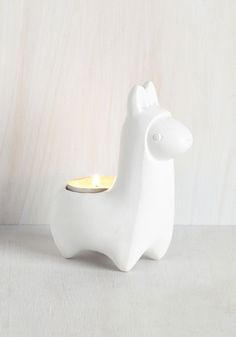 Llama Baby, Light My Fire Votive Holder. The hype surrounding your decor choices will heat up once you introduce this white votive holder to your favorite spaces! #white #modcloth