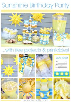"This would be cute for a ""Sunbeam"" party to kick off the new Sunbeams. Tons of Sunshine Birthday Party Ideas and Free Printables Sunshine Birthday Parties, Summer Birthday, 1st Birthday Girls, Birthday Fun, First Birthday Parties, Birthday Party Themes, First Birthdays, Birthday Ideas, Lila Party"