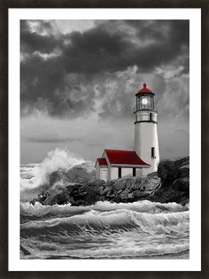 Stormy Sea Painting - Oregon Lighthouse Cape Blanco In Black White And Red by Regina Femrite Color Splash, Color Pop, Colour, Lighthouse Painting, Lighthouse Pictures, Stormy Sea, Beacon Of Light, Cross Paintings, House Paintings