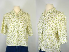 1960s White Blouse with Green Floral Print by KrisVintageClothing
