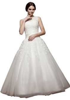 ImPrincess ip4-5776-6 Wedding Dress Vintage Style Bateau Sleeveless Closed Tie Delicate Beading Lace Applique Long Sweep Ball gown White  #Applique #Ball #Bateau #Beading #Closed #Delicate #Dress #Gown #ImPrincess #ip457766 #Lace #long #Sleeveless #Style #Sweep #Vintage #Wedding #White
