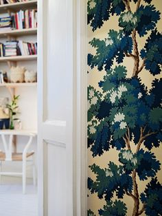Raphaël wallpaper by Sandberg, inspired by French 18th century tapestry panels with nature motif (found here: http://www.sandbergab.se/en/products/wallpaper/Raphael/444-66)
