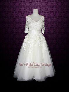 Long Sleeves Wedding Dress Short Retro Tea Length Wedding Dress Vintag | Ieie's Bridal Dress Boutique