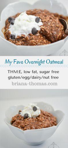 My Fave Overnight Oatmeal...THM:E, low fat, sugar free, gluten/egg/dairy/nut free...tastes like chocolate pudding!