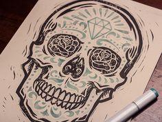 Diamond Sugar Skull - Block Print