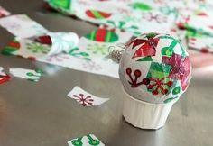 tissue paper mod podge ornament