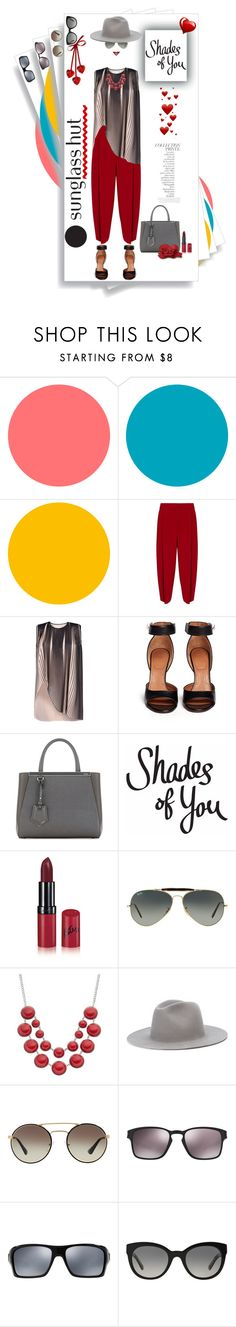 """Shades of You: Sunglass Hut Contest Entry"" by dadanana ❤ liked on Polyvore featuring Emporio Armani, STELLA McCARTNEY, Givenchy, Fendi, Rimmel, By Terry, Ray-Ban, Études, Prada and Oakley"