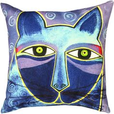Laurel Burch Cat Throw Pillows - Indigo Kitty | Use indoors on your couch or outside on the lawn chairs.