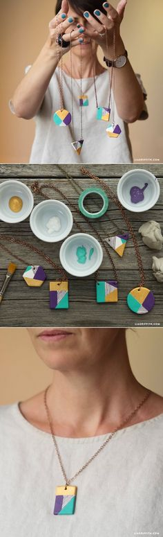 #PaintedClay #ClayNecklaces #DIYJewelry #DIYGifts www.LiaGriffith.com:
