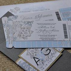Boarding-pass invitation.  Love this idea.
