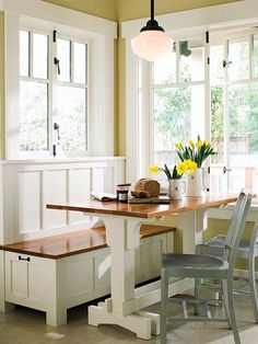 Banquette for our new kitchen/dining space. I love the pedestal table and windows. New Kitchen, Kitchen Dining, Kitchen Banquette, Country Kitchen, Breakfast Nook Bench, Nice Breakfast, Banquettes, Kitchen Benches, Dining Nook