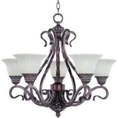5-Light Chandelier with Soft Vanilla Glass - Greek Bronze-HD-MA43070247 at The Home Depot