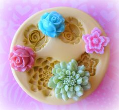 Polymer Clay Charms Flower Mold Daisy Rose Mold by Molds4You, $8.95