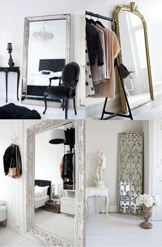 Decorating with antique mirrors When it comes to decorating a space, mirrors are your best friend. They are perfect for bringing more light into your home and a well placed mirror can make a small space feel bigger.  Saved from:http://skicountryantiques.com/blogs/news/decorating-with-antique-mirrors