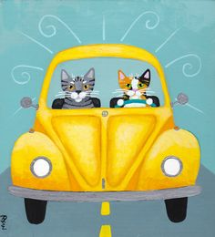 Sunshine Yellow Road Trip Original Cat Folk Art Painting by KilkennycatArt