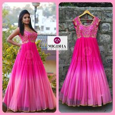 Here is the Pink LongFrock Girls all time Favorite Color is back in MugdhaArtStudioProduct code : Order with us :Please reach out 9010906544 (whatsapp)For Call: 8899840840 (IVR) 25 January 2017 Long Gown Dress, Lehenga Gown, Frock Dress, Anarkali Dress, Kurta Designs, Half Saree Designs, Kurti Designs Party Wear, Dress Designs, Indian Long Dress