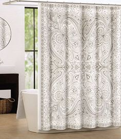 tan and gray shower curtain. Tahari Luxury Cotton Shower Curtain Large Paisley Medallions Boho Style Gray  Beige Grey Taupe Home Mandala Elephant Oriental Fabric