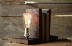 Signature Bookends Walnut- Modern Bookends, Book Accessories, Solid Walnut, Edison Bulb Lamp