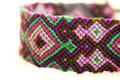 Friendship Bracelet - Long Vibrant Green and Purple with an Epic Crazy Diamond Design by PerfectImp
