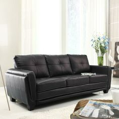 Homelegance Dwyer Sofa, Black Vinyl Fabric A thoroughly modern seating option for your contemporary home, the Dwyer Collection provides a comfortable Furniture Deals, Sofa Furniture, Living Room Furniture, Studio Furniture, Kitchen Furniture, Living Rooms, Home Design, Bed Design, Black Couches