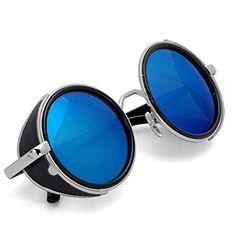 Unisex Men Women 50s Retro Style Steampunk Sunglasses Vintage Round Circle Full Frame Sun Glasses Eyewear Cyber Eyewear Eyeglasses Round Mirror Lens Glasses Sunglasses Blue