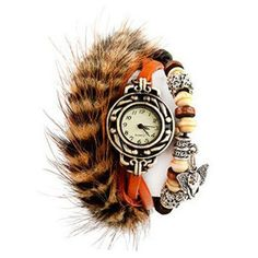 Women Watch with Round Dial Marten Leather Watchband and Thailand lucky Elephant (ORANGE)   Everbuying.com