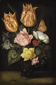 Ambrosius Bosschaert Wall Art - Painting - Still Life Of Tulips Wild Roses Cyclamen Yellow Ranunculus Forget-me-not And Other Flowers In A Glas by Ambrosius Bosschaert the Elder Flower Images, Flower Pictures, Flower Art, Country Fair, Rembrandt, Dutch Tulip, Renaissance, Color Cobre, 17th Century Art