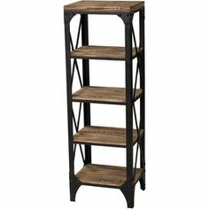 "Industrial-style iron and wood bookcase with 4 shelves.   Product: BookcaseConstruction Material: Wood and ironColor: Black and natural Features: Four shelves X-shaped siding Dimensions: 45.25"" H x 15"" W x 11.75"" D"